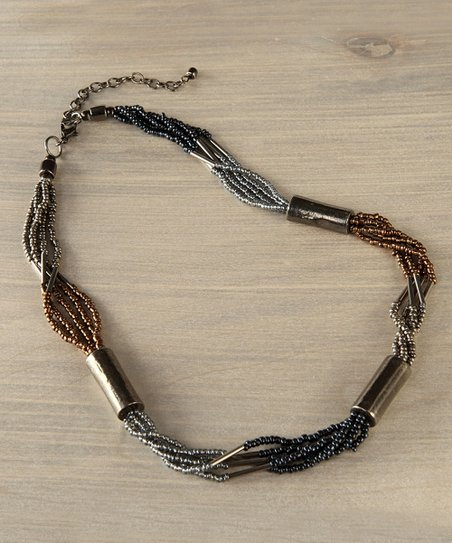 Gray & Gold Beaded Tube Necklace