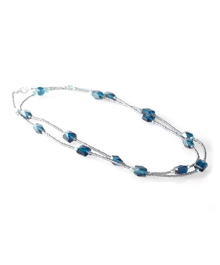Silver & Blue Bead Necklace