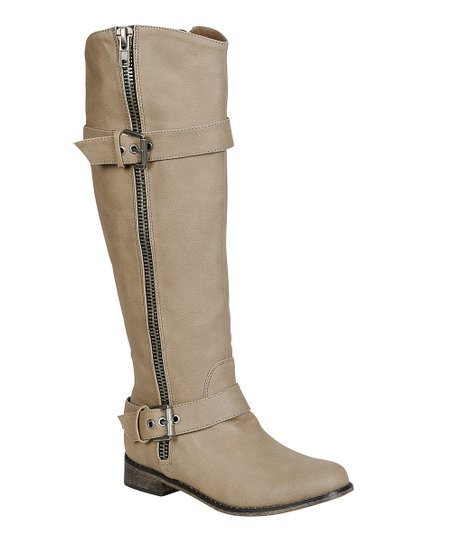 Beige Double-Buckle Rider Boot