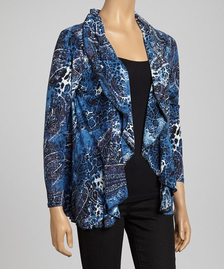 Blue Abstract Animal Open Cardigan