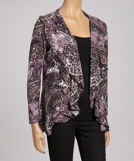 Purple Abstract Animal Open Cardigan