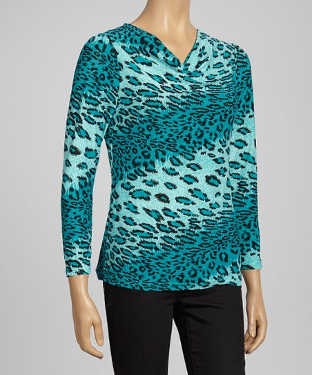 Green Animal Color Block Top