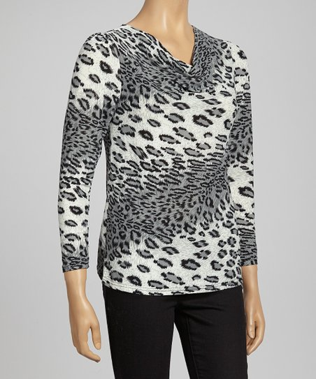 Gray Animal Color Block Top