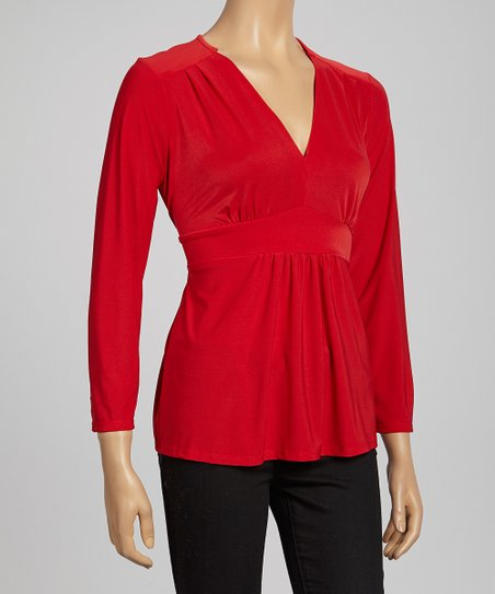 Red Tie-Back V-Neck Top
