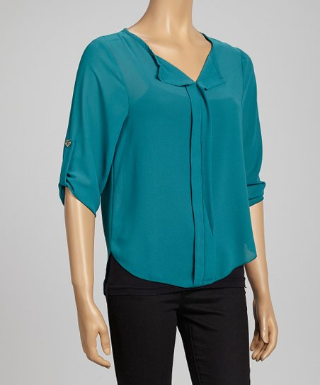 Teal Semi-Sheer Roll-Tab Sleeve Top