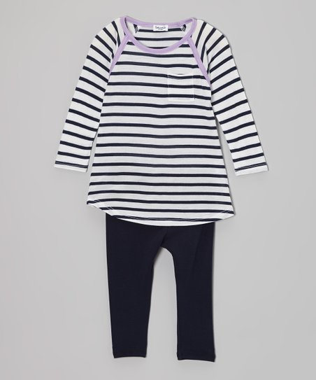 White Stripe Tunic & Black Leggings - Infant