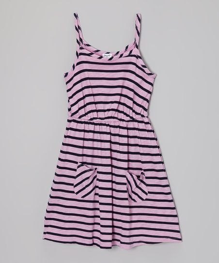 Pink & Navy Stripe Dress - Girls