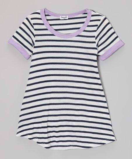 White & Grapesicle Stripe Swing Dress - Girls
