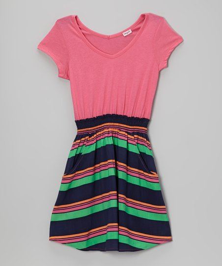 Cotton Candy & Navy Stripe V-Neck Dress - Girls