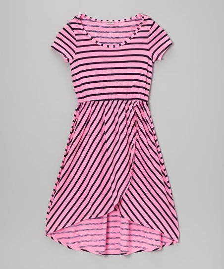 Neon Pink Stripe Hi-Low Dress - Girls