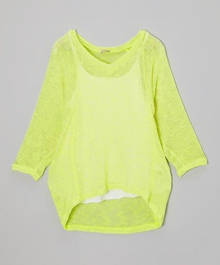 White Camisole & Neon Yellow Dolman Top - Girls