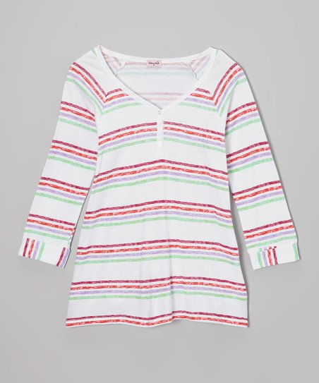 White Stripe Three-Quarter Sleeve Henley - Girls
