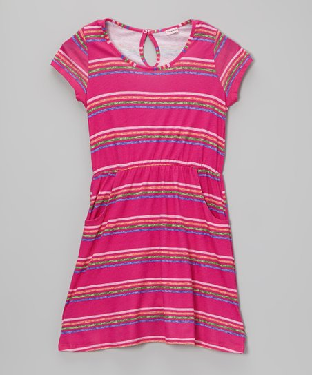 Tulip & Blue Stripe Dress - Girls