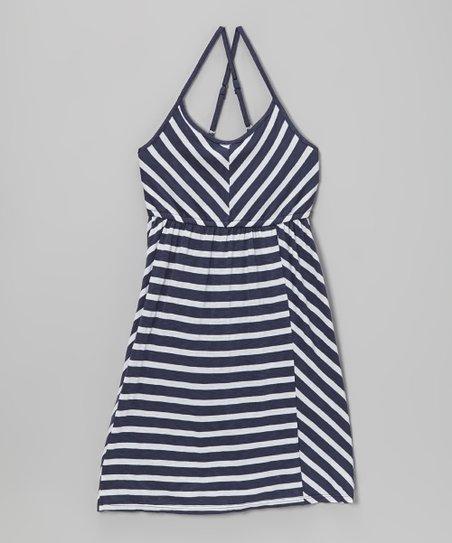 Cadet Blue Stripe Racerback Dress - Girls