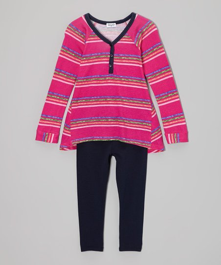 Tulip Stripe Henley Tunic & Black Leggings - Toddler & Girls