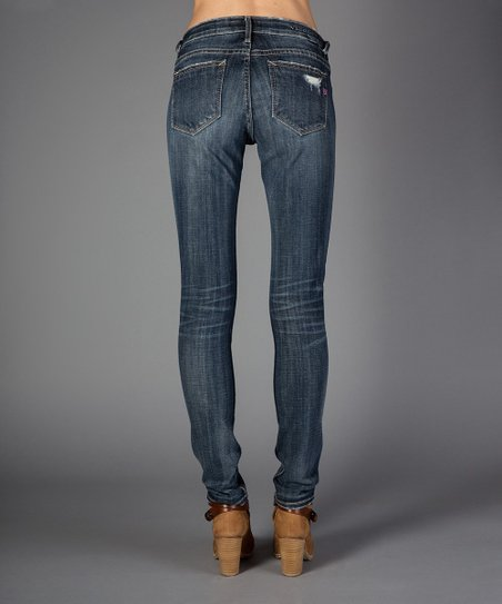 Dark Wash Deconstructed Skinny Jeans - Women