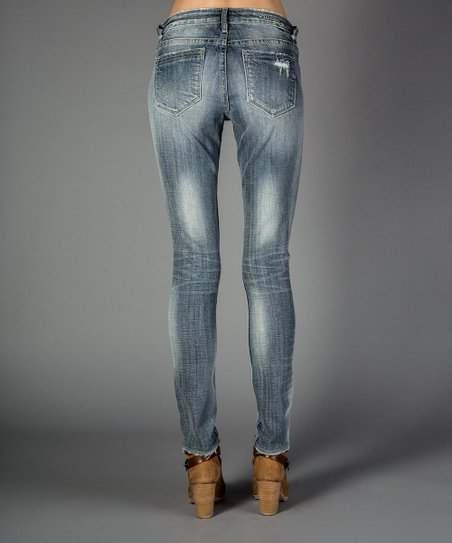 Light Wash Deconstructed Skinny Jeans - Women