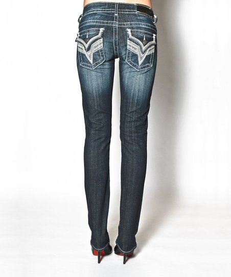 Dark Wash New York Flap Straight-Leg Jeans - Women