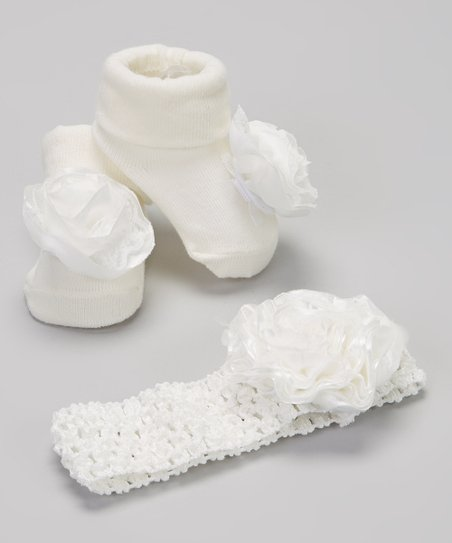 Cream Tiny Flower Socks & Headband
