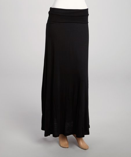 Black Fold-Over Maxi Skirt