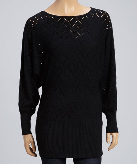 Black Perforated Zigzag Dolman Top