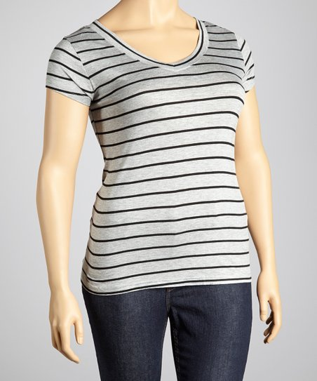 Heather Gray & Black Stripe V-Neck Top - Plus