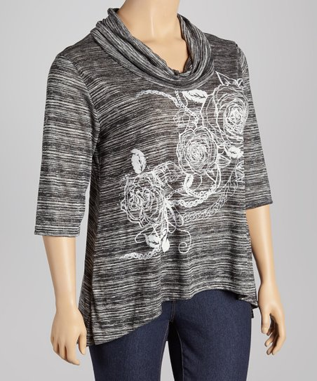 Gray Floral Cowl Neck Tunic - Plus