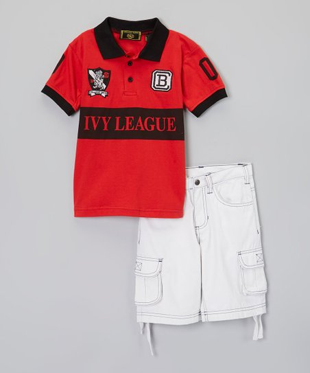 Red 'Ivy League' Polo & Cargo Shorts - Boys