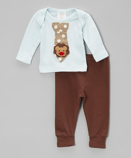 Aqua Lion Tie Lap Neck Tee & Brown Pants - Infant