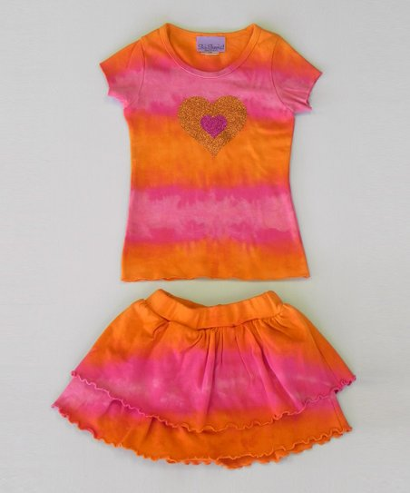 Raspberry & Tangerine Heart Tee & Skort - Toddler & Girls