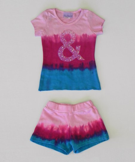 Aqua & Raspberry Tie-Dye Tee & Shorts - Toddler & Girls