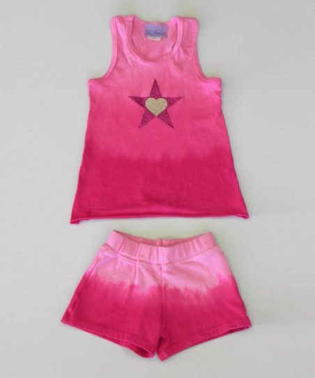 Raspberry Heart Ombre Tank &amp; Shorts - Toddler &amp; Girls