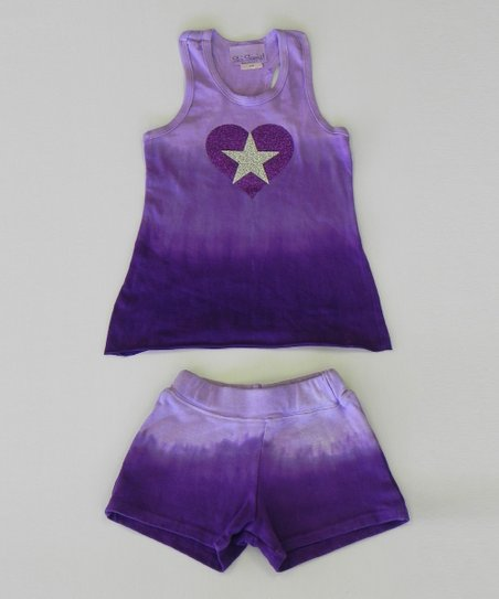 Grape Heart Ombre Tank & Shorts - Toddler & Girls