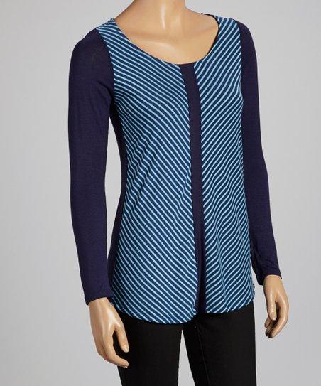 Navy & Blue Asymmetrical Stripe Top -