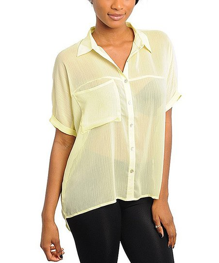 Yellow Pocket Button-Up Top