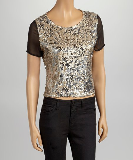 Cream & Black Sequin Top