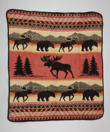 Red Orange & Tan Moose Tracks Throw Blanket