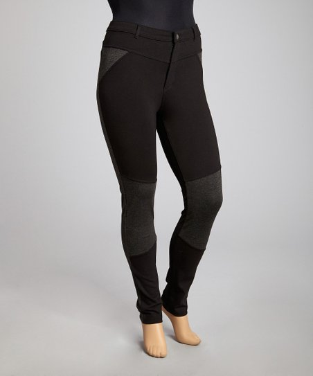 Black & Charcoal Gray Skinny Pants - Plus