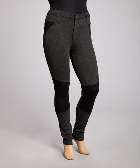 Charcoal Gray & Black Skinny Pants - Plus