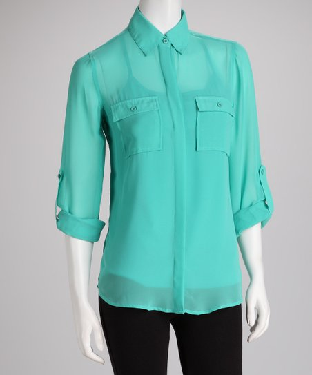 Teal Sheer Grottoazuar Button-Up Top