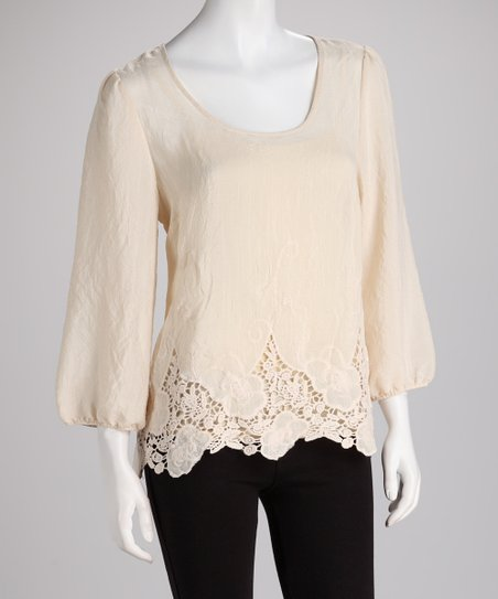 ADIVA Crème Lace Scoop Neck Top