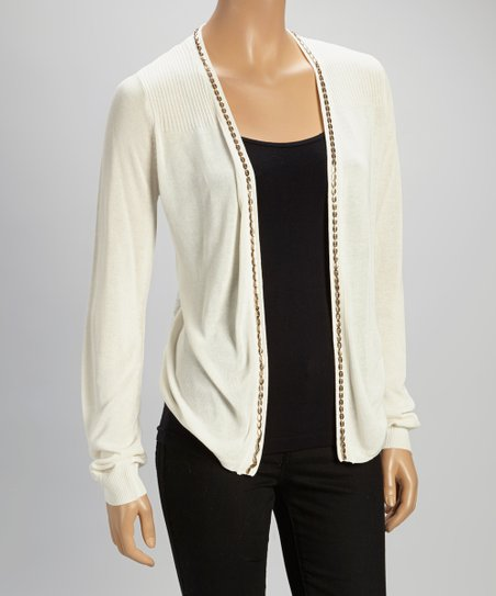 Ivory Lace-Back Open Cardigan