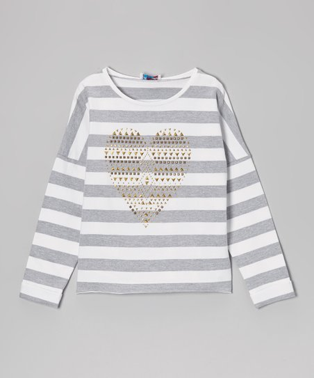 Heather Gray & White Stripe Heart Dolman Top