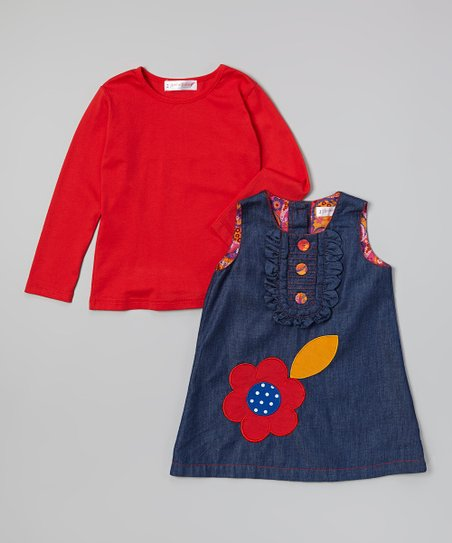 Blue & Orange Denim Dress & Tee - Toddler & Girls