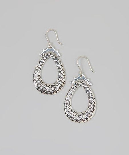 Sterling Silver Woven Teardrop Earrings