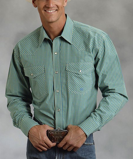 Green & Teal Summer Plaid Snap Top - Men
