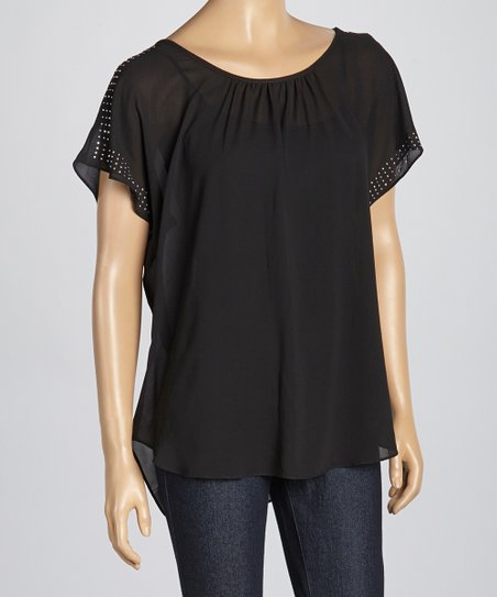 Black Studded Ruched Scoop Neck Top