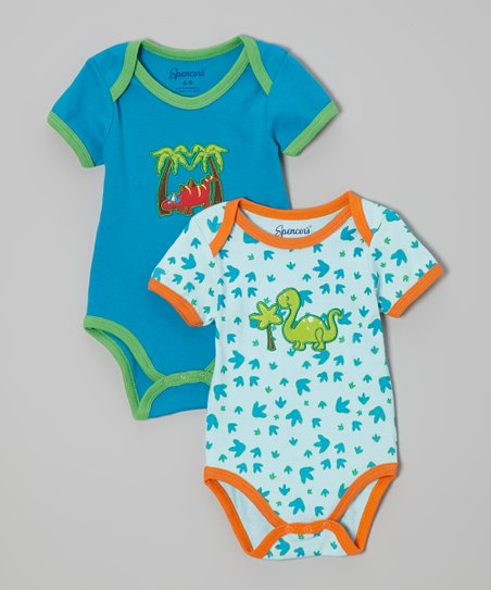 Blue & Green Dinosaur Bodysuit Set - Infant