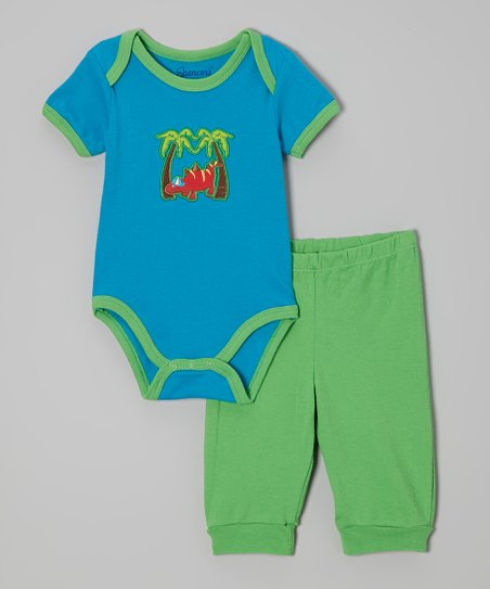 Blue & Green Dinosaur Bodysuit & Pants - Infant