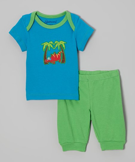 Blue & Green Dinosaur Tee & Pants - Infant
